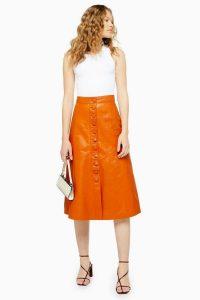 Topshop Orange Leather Button Midi Skirt