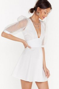 Nasty Gal Organza Off Babe Puff Sleeve Mini Dress