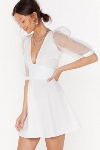 Nasty Gal Organza Off Babe Puff Sleeve Mini Dress - flipped
