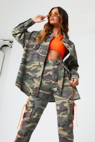 THE COUTURE CLUB OVERSIZED WASHED CAMO SHIRT / camouflage print shirts