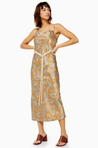 Topshop Paisley Belted Slip Dress in Orange