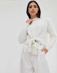 Parallel Lines fluffy soft touch jumper with tie front in white | chic sweater