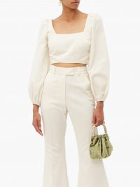 RACIL Pat square-neck cotton-blend faille cropped top ~ cream puffed sleeve tops