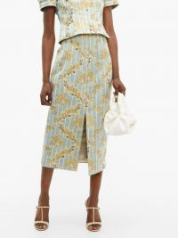 BROCK COLLECTION Pectolite floral cotton-blend jacquard skirt ~ gold silk thread skirts