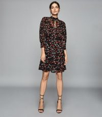 REISS PEONY FLORAL PRINTED DRESS RED/ BLACK