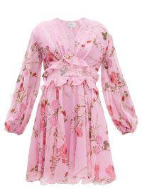GIAMBATTISTA VALLI Peony-print lace-trim silk-georgette dress ~ floaty pink dresses