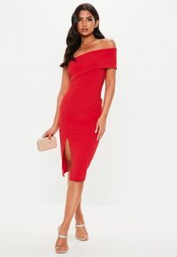 MISSGUIDED petite red one shoulder bodycon midi dress ~ asymmetric evening wear