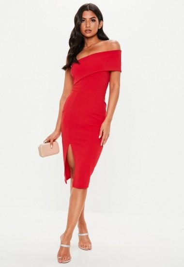 MISSGUIDED petite red one shoulder bodycon midi dress ~ asymmetric evening wear