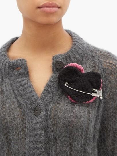 PRADA Pierced-heart mohair brooch / hearts / brooches
