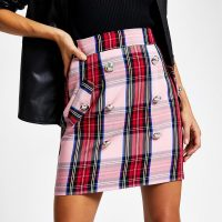 RIVER ISLAND Pink check button front mini skirt