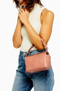 Topshop Pink Crocodile Acrylic Cross Body Bag | small luxe style bags