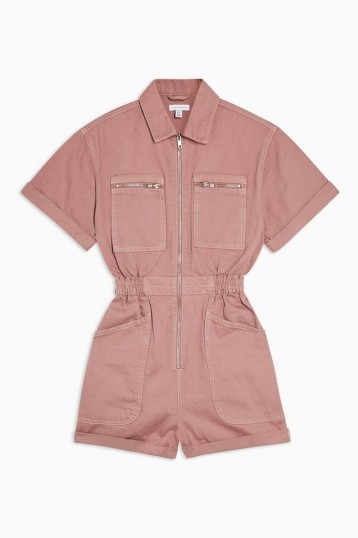 Topshop Pink Denim Zip Playsuit | cotton utility playsuits