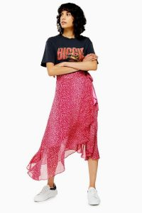 Topshop Pink Leopard Wrap Midi Skirt | ruffle trimmed skirts