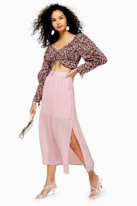 Topshop Pink Pleat Side Button Midi Skirt | split skirts