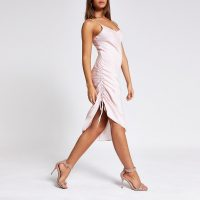 RIVER ISLAND Pink ruched slip midi dress