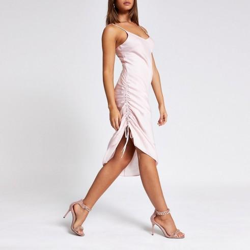 RIVER ISLAND Pink ruched slip midi dress