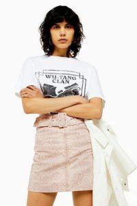 Topshop Pink Snake Denim Skirt | reptile print mini