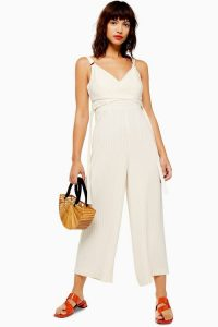 Topshop Pinstripe Wrap Jumpsuit in Ivory | strappy summer jumpsuits