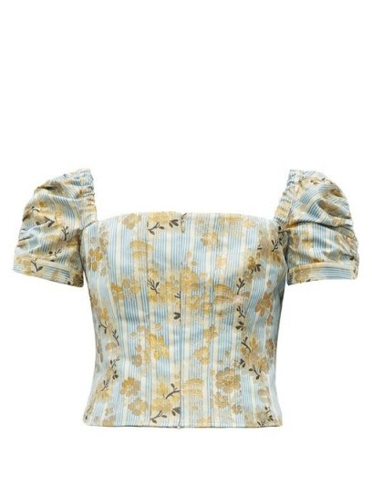BROCK COLLECTION Platano floral cotton-blend jacquard cropped top - flipped