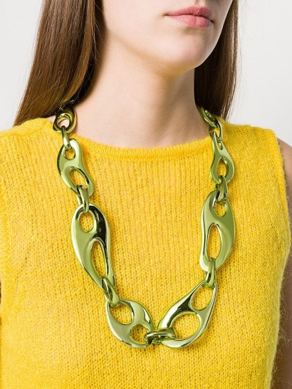 PRADA green metal necklace