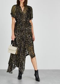 PREEN BY THORNTON BREGAZZI Esther printed devoré midi dress / leopard print fashion