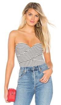 Privacy Please Cannes Bodysuit Cream & Black Stripe | summer strapless bodysuits | holiday tops