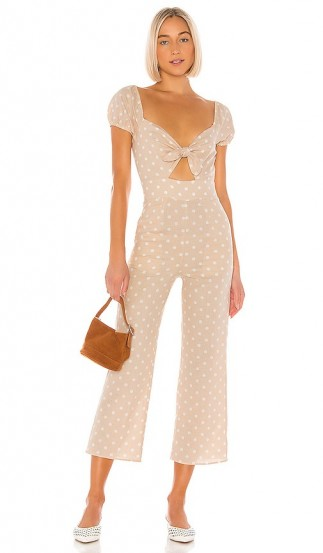 Privacy Please Tavi Jumpsuit Nude & White dot
