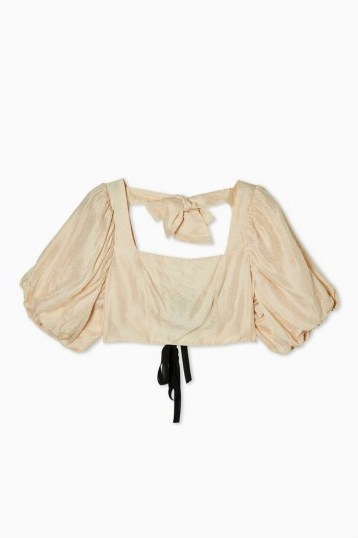 TOPSHOP Puff Sleeve Crop Top in Champagne. - flipped