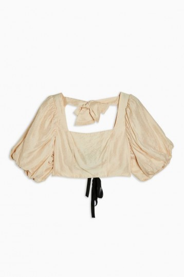 TOPSHOP Puff Sleeve Crop Top in Champagne.