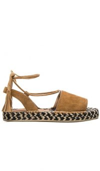 RAYE Devon Sandal in Tan & Multi Weave | strappy fringed flats