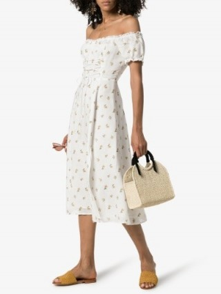 Reformation Annuka Floral Off-The-Shoulder Linen Dress in White