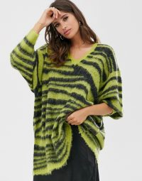 Religion oversized jumper in zebra lime green | slouchy knits