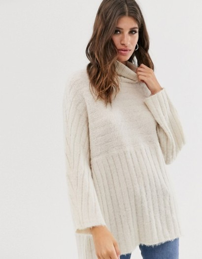 Religion slouchy ribbed high neck jumper cream | neutral oversized sweater