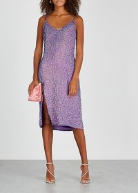 RETROFÊTE Denisa purple sequin midi dress / iridescent party dresses