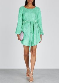 RETROFÊTE Grace sequin mini dress in turquoise ~ shimmering event wear