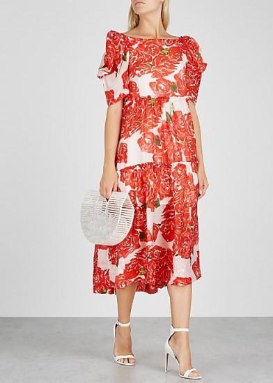 RHODE RESORT Aurora floral-print midi dress / feminine puffed sleeve dresses