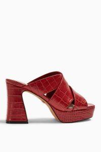 Topshop RICHMOND Platform Mules | red chunky retro heels