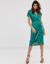 River Island puff sleeve midi dress in green print | vintage style fashion