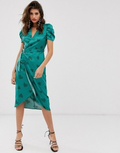 River Island puff sleeve midi dress in green print | vintage style fashion - flipped