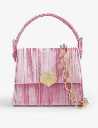 RIXO Jemima velvet mini top handle bag in fuchsia | pink shell embellished handbag