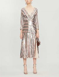 RIXO Tyra sequin-embellished midi dress in multi sequin peach blue | deep V-neck occasion wear