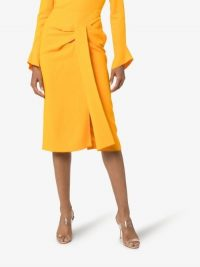 Roland Mouret Aura Pencil Midi Skirt in Yellow   chic draped skirts