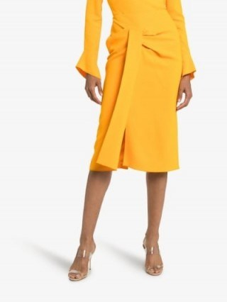 Roland Mouret Aura Pencil Midi Skirt in Yellow | chic draped skirts - flipped
