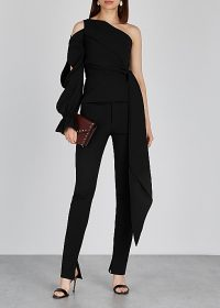 ROLAND MOURET Vero black asymetric draped top