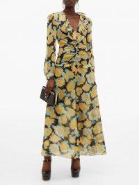 MIU MIU Rose-print crystal-embellished georgette dress