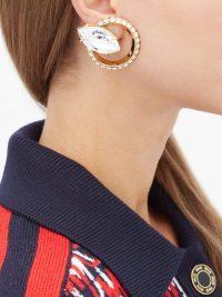 MIU MIU Round crystal-embellished clip earrings ~ large circular clips
