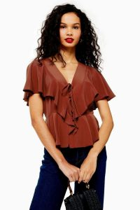 Topshop Ruffle Tie Front Blouse in Rust