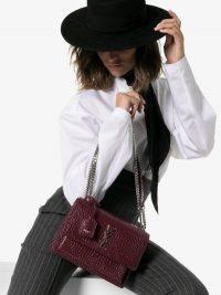 Saint Laurent Burgundy Sunset Medium Croc-Embossed Leather Shoulder Bag