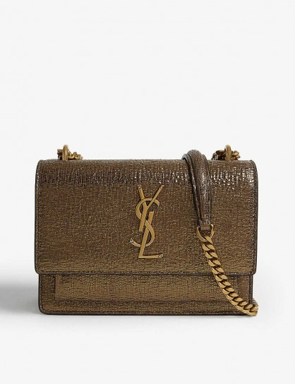 SAINT LAURENT Sunset small gold leather shoulder bag
