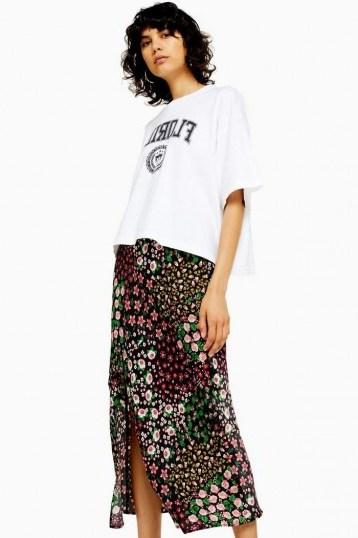 Topshop SAN DIEGO Black Patchwork Floral Bias Skirt | front slit skirts - flipped